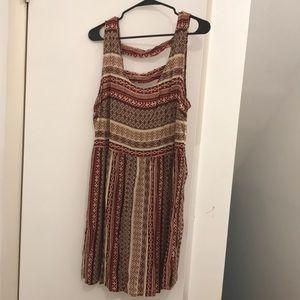 Tribal print dress in beige, brown and burgundy